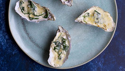 Gratinerede spinat østers